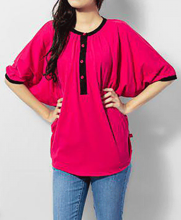online store buying cheap attractive price Shocking Pink Cotton Tops with Black Trims (7862-92) - River Rock